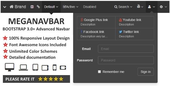 Meganavbar. Advanced Navbar For Bootstrap 3.0 - Css Navigation & Menu Design