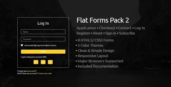 Flat Forms Pack 2 - Css Forms Design
