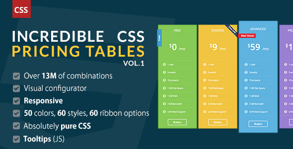 Incredible Css Pricing Tables Vol.1 - Css Pricing Tables Design