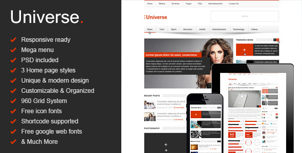 Universe html gallery template