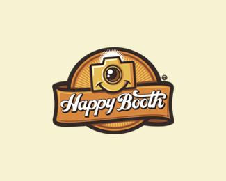 happy booth retro logo