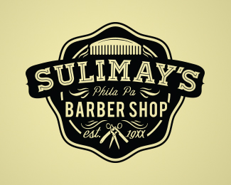 sulimay's barber shop retro logo