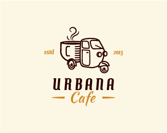 urbana cafe retro logo