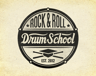drum school retro logo