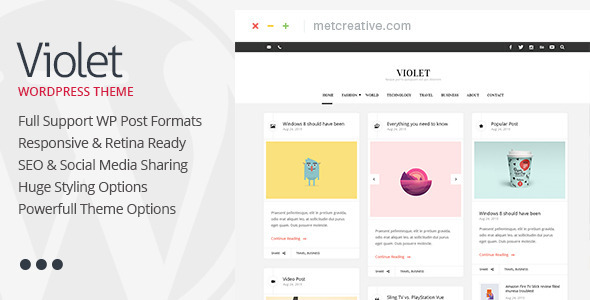 violet clean responsive wordpress blog theme