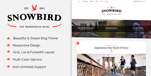 snowbird a responisve wordpress blog theme