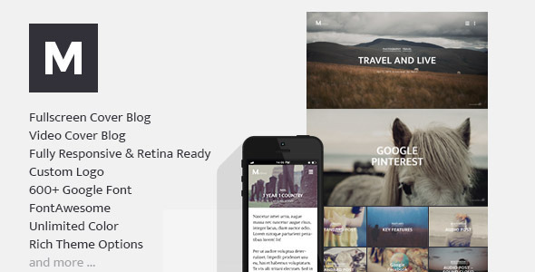 mellow fullscreen responsive blog wp theme