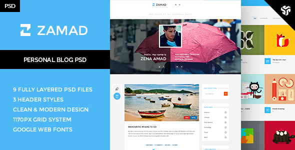 zamad responsive personal wordpress theme