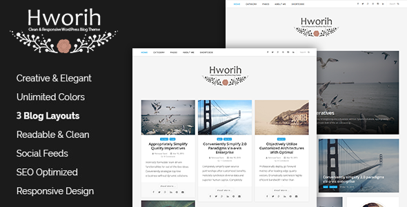 hworih a clean responsive wordpress blog theme