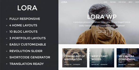lora responsive wordpress blog portfolio theme