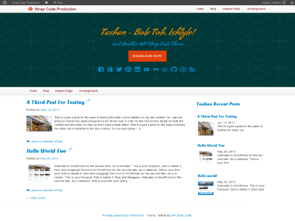 free tashan blog wordpress theme