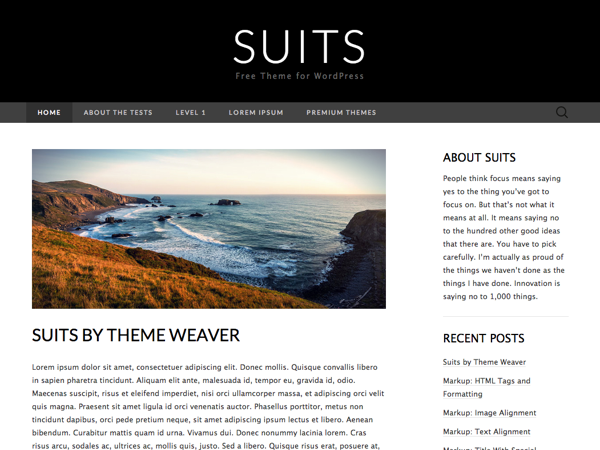 free suits blog wordpress theme