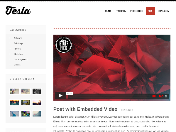 free tesla blog wordpress theme