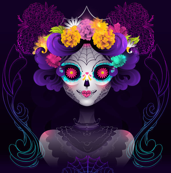 how in order to make a neon calavera girl vector portrait in adobe illustrator