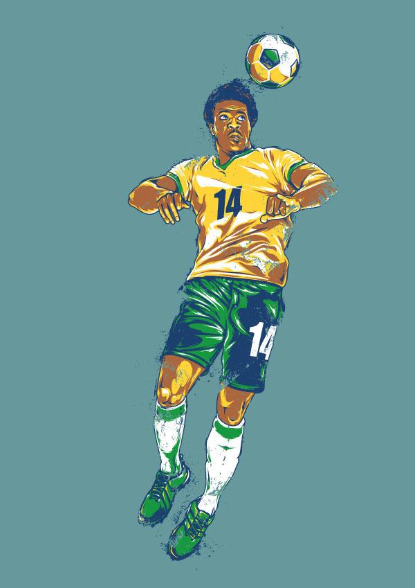 create a retro footballer in adobe illustrator for the entire world glass