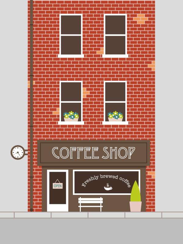 how to create a straightforward coffee shop facade in adobe illustrator