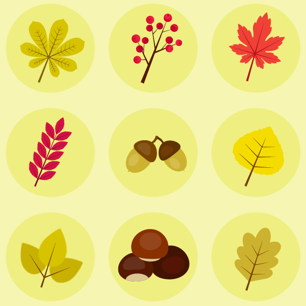 how to create autumn leaves, fruits and chestnut icons in adobe illustrator