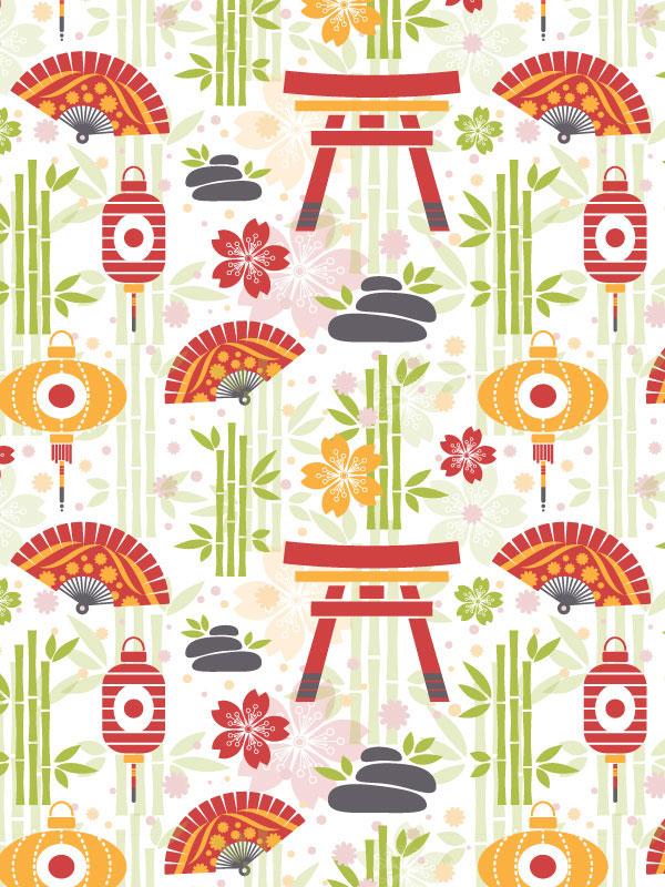create a gentle flat oriental pattern in adobe illustrator