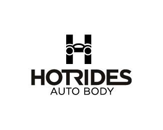 hot rides auto body logo design