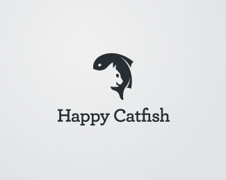 happy catfish logo design