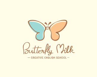 butterfly milk logo design