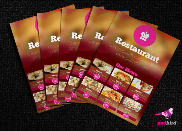 free restaurant menu cardbrochure psd