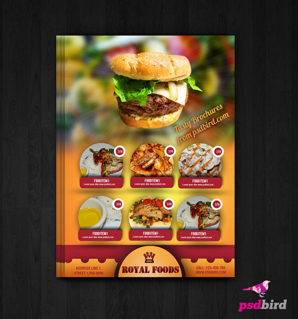 free hotel menu card psd