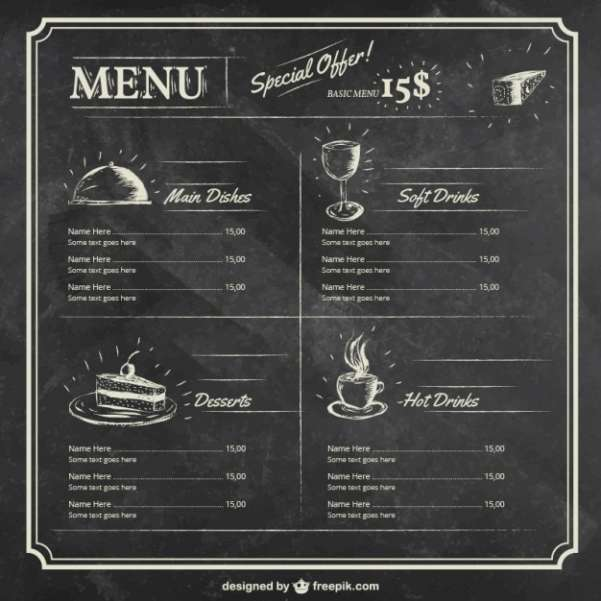 menu template on blackboard