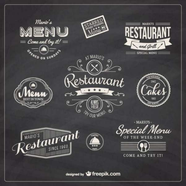 restaurant retro badges