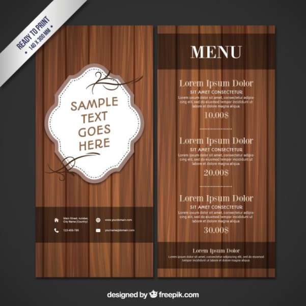 wooden restaurant menu
