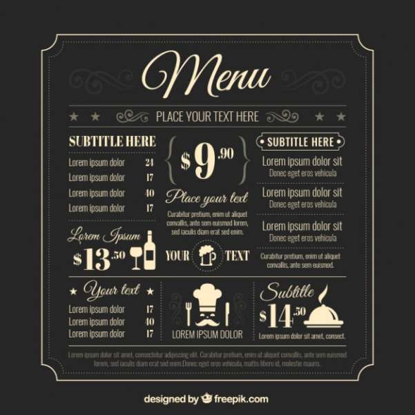 retro menu template
