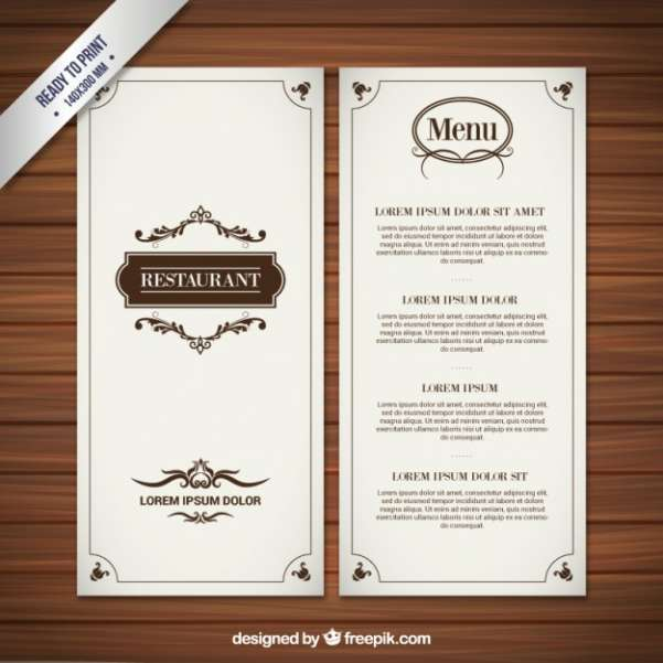 restaurant menu in retro style