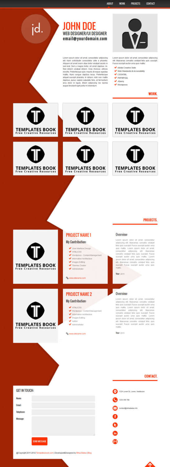Free Html Resume  Cv Website Templates  Xdesigns