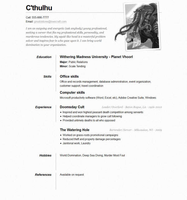 Free One Page Résumé Website Template