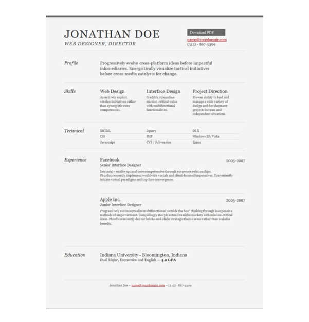 sample resume template - Html Resume Template Free