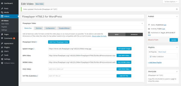 Flowplayer HTML5 for WordPress internet tools
