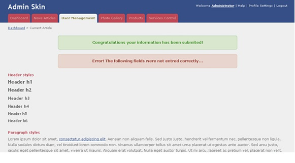 admin skin free html admin template