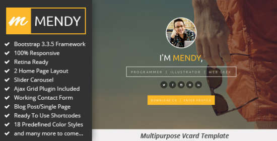 mendy personal vcardresume html5 template