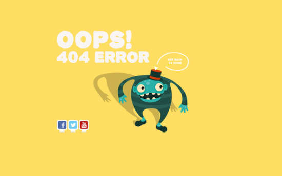 four animated 404 pages