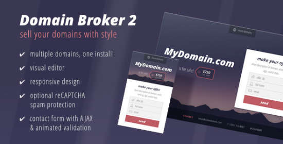 domain broker 2 landing page to offer domains