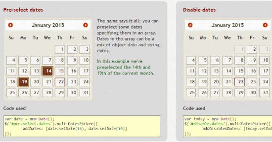 multiple dates picker