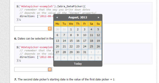zebra datepicker