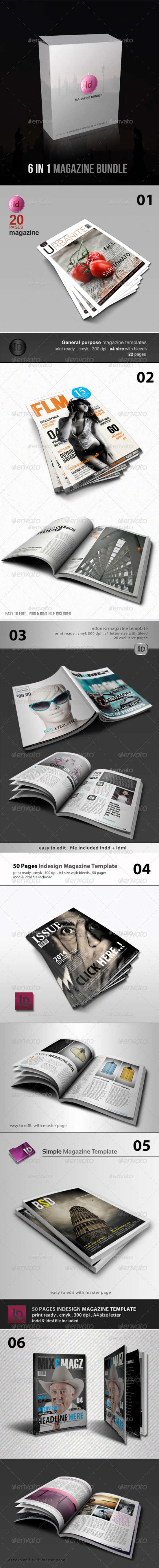 6 in 1 indesign magazine template