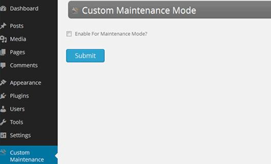 custom maintenance mode plugin