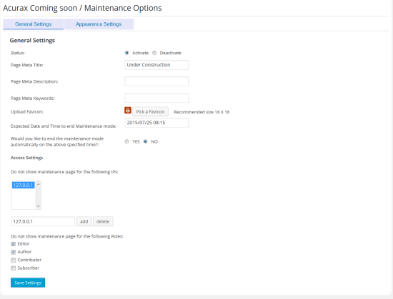 coming soon / maintenance mode from acurax plugin