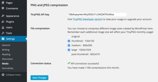 compress jpeg & png images wordpress plugin