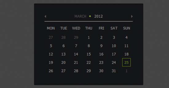 css3/jquery ui calendar