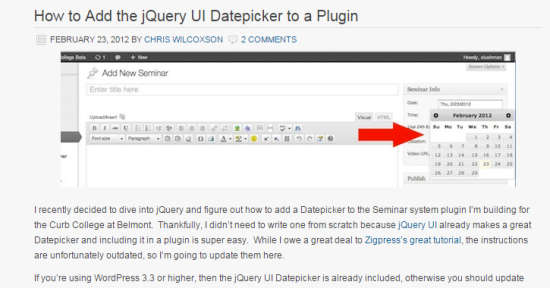 jquery ui datepicker in wordpress