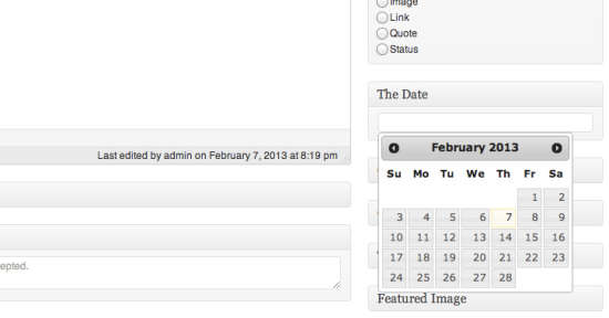 wp post editor datepicker