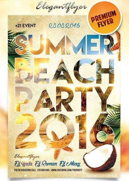 summer beach party on elegant flyer